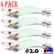 4x GLOW Squid Jigs Egi #2.0 Calamari Arrow 2.0g Shrimp Jap Jig Fishing Lures