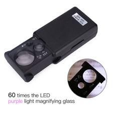 Pocket LED Magnifying Glass 30X 60X 90X Portable Slide Out Loupe UV Light Tweeze