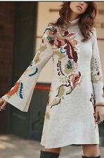 Anthropologie Knitted & Knotted Embroidery Petals Swing Sweater Dress Sz Small
