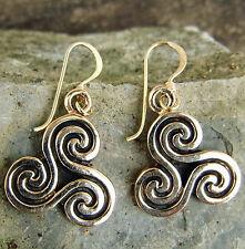 schöne Bronze Ohrhänger Mittelalter Triskele KÖRPER Geist SEELE Ohrringe Triskel
