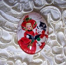 Vintage Christmas 30X40mm Glitter Unset Handmade Glass Art Bubble Cameo Cab