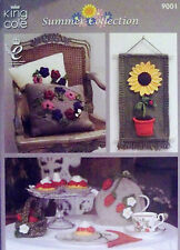 King Cole DK Knitting pattern Summer Collection Tea Cosy Cushion Wall hang  9001
