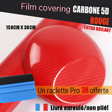 Film carbone 5d rouge covering brillant thermoformable + raclette de pose 3M pro