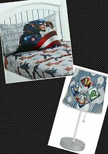MARVEL AVENGERS CIVIL WAR CAPTAIN AMERICA MICROFIBER TWIN SHEET SET AND LAMP
