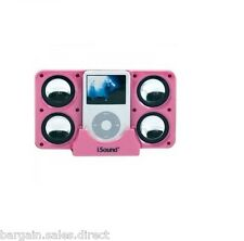 ISOUND PINK 4X POWERED 4 SPEAKER SYSTEM FOR IPHONE IPOD MP3 INCLUDE CARRY CASE