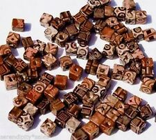 100 BAMBOO Craft ART BEADS 10mm Cube ~ Natural COLORS !