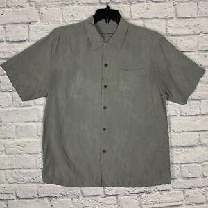 Tommy Bahama Original Fit Silk Hawaiian Button Up Men L Gray Floral Ghost Design