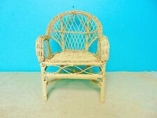 Doll Bear Chair Wooden Woven Playing Indoors Display Decoration Bedroom Tan