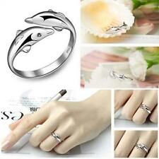 Fashion Cute Opening Adjustable Silver Plated Double Dolphin Ring Jewelry