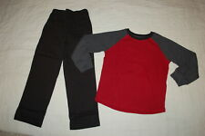 Boys Brick Red & Gray L/S Waffle Knit Shirt Black Woven Pull On Pants Size 6