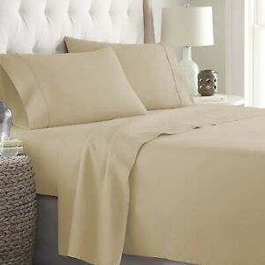 """Royal Linen 4 PCs Sheet Set 15"""" Fitted Deep Pocket 1000 TC Taupe Solid Full Size"""
