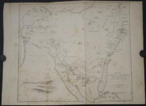 SINAI PENINSULA EGYPT 1849 WILLIAM HUGHES ANTIQUE ORIGINAL LITHOGRAPHIC MAP*