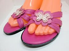 ETIENNE AIGNER 6.5 M Sandals Slip On Slides PINK Leather Butterfly Women Shoes