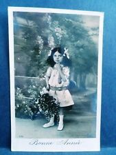 Postcard French Tinted Girl RPPC Real Photo 1912