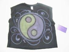NEW Penelope Wildberry Black Sleeveless Yin Yang T Shirt Tank Top L 14 - 16 $49