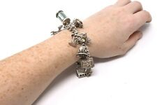 A Heavy Vintage Sterling Silver 925 Charm Bracelet with Great Charms #24874