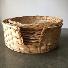 """Lot 8 Wicker Rattan Bamboo Paper Plate Holders In Caddy 9.5"""" Camping BBQ Party"""