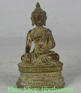 "4"" Old Tibetan Red Copper Buddhism Shakyamuni Amitabha Buddha Sculpture"