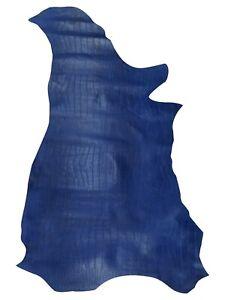 Cow Skin Croco Print Premium Rustic Look Leather Hide 9.85 Sq. ft.(Shiny Blue)