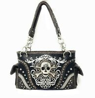 women's shoulder bag skull concealed carry handbag rhinestone bling purse new