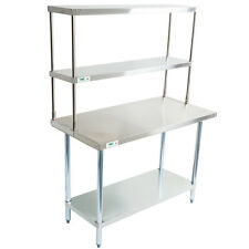 "30"" x 48"" Stainless Steel Work Prep Table Double Over Shelf Overshelf Commercial"