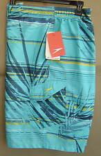 NWT $54 SPEEDO Mens XL PALM STRIPE E-BOARD Swim Water Shorts COASTAL SKY 7840379