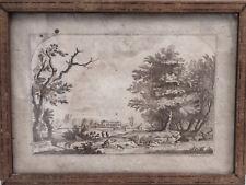 ancien, dessin encre et lavis  paysage animé, 18ème siècle ?