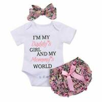 3pcs Kid Baby Girl Skirt Romper Jumpsuit Bodysuit Summer Outfit Clothes+Headband