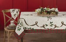 Lenox Damask Tartan Tablecloth Christmas Holiday Melody Holly Berry 60x84 60x104