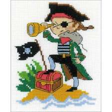 Brave Pirate Counted Cross Stitch Kit Kids Beginners