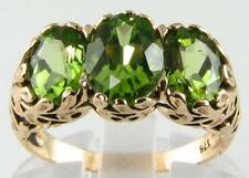 LARGE 9K 9CT GOLD PERIDOT 3 STONE VINTAGE INS TRILOGY RING FREE SIZE