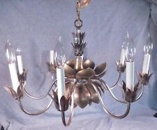 "Original Feldman 24"" Hanging Brass Lamp Lotus Blossom Light 8 arm Chandelier"