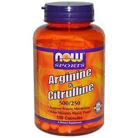 Now Foods Arginine & Citrulline 500/250 120 Capsules Maintain Muscle 5/20 Exp
