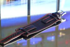 New Handmade GENUINE LEATHER 20mm BLACKRed Chunky Watch strap