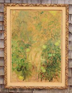 1960 Vintage LILY CUSHING Modernist Tomato Garden Painting Rhode Island Artist