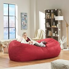 Huge Bean Bag 8ft Giant XL Chair Faux Suede Lounger Large Red Big Sofa 8 Foot