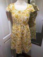 BODEN 100% Linen Summer Dress U.K. Size 8r Mustard yellow white floral Lined