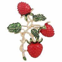 1 x Brosche Mode Frucht Erdbeere Design Legierung Broschen Kleidung Dekorati N1M