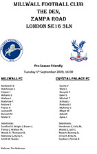 Millwall v Crystal Palace 1/9/2020, Friendly, Unofficial Pirate Issue Team Sheet