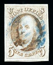 #1, 5c 1847, Red Brown, USED, XF, BLUE grid, 2010 PSE (grade 90) - Exceptional