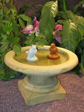 Cast Stone Concrete Cement English Birdbath Statue Outdoor Garden Statuary