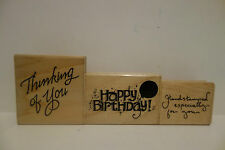 Lot 3 Jrl Design Wooden Rubber Mounted Stamp Birthday~Thinking~Stamped