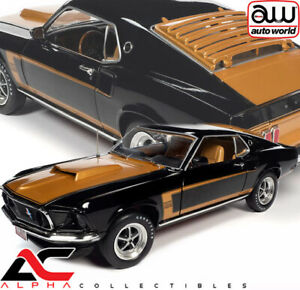 AUTOWORLD AMM1251 1:18 1969 FORD MUSTANG FASTBACK BLACK BOSS 429