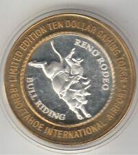 1999 Reno Tahoe Airport Reno Rodeo Bull Riding .999 Fine Silver $10 Casino Token
