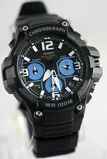 Casio MCW-100H-1A2V Mens Analog Watch Heavy Duty 100M WR Chronograph Black Blue