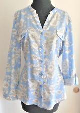 LAURA SCOTT PETITE BLOUSE  SIZE XLP  100% COTTON  BLUE/WHITE/GRAY