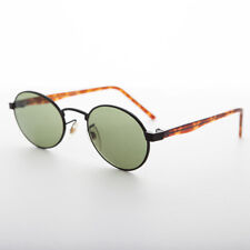 Oval Green Lens Vintage Black Metal and Tortoiseshell Combo Sunglass - Hipster