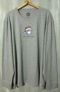 Life Is Good L/S Crusher Tee Shirt Men's XL Merry Good Heather Gray NWT