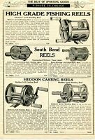 1924 Print Ad of Modern, South Bend & Heddon Casting Fishing Reels
