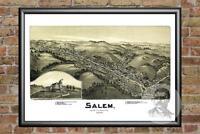 Old Map of Salem, WV from 1899 - Vintage West Virginia Art, Historic Decor